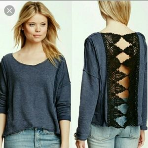Free People Victorian Lace sweatshirt NWOT